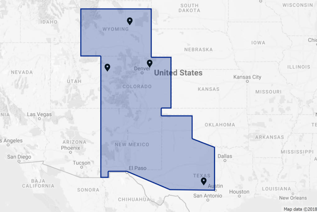 Service Areas w/ Office Locations | ATI Insulation, Inc. | CO, WY, TX